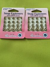 Hemline Snap Fasteners. Assorted Sizes. 2 Packs