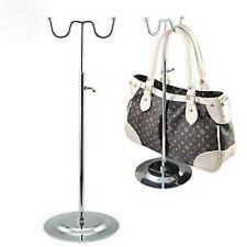 New Double Hook Chrome Adjustable Height Handbag Purse Stand Display Rack