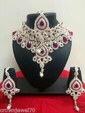 Diamond and Crystal Pink Bridal Necklace Set with Earrings and Tikka