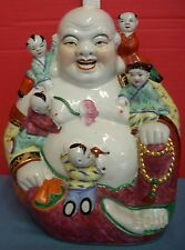 "Vtg 12"" Buddha Children Fertility Gold Trim Happy Smiling Chinese Famille Rose"
