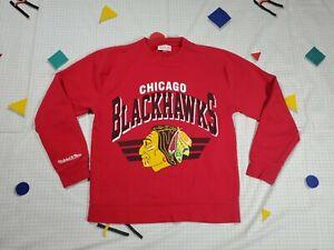 Chicago Blackhawks Mitchell & Ness Red Crewneck Sweatshirt Size Small