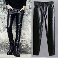 mens punk leather black pants slim fit skinny rock trousers Party New Fashion xi