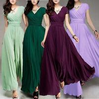 Damen Kleid Abendkleid Boho Chiffon Maxikleid Lang Party V-Ausschnitt Braut PD