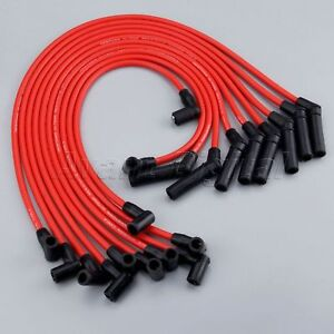 Ford Racing Spark Plug Wires Spiral Wound 9mm Red 45 Deg Boots Ford 5.0/5.8L V8
