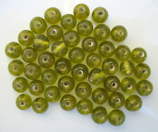 50grams of ROUND LIGHT OLIVE GLASS BEADS 9.5mm