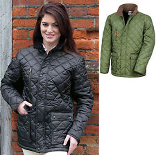 Ladies Quilted Padded Jacket Coat Shower Proof with warm Fleece Inner Lining