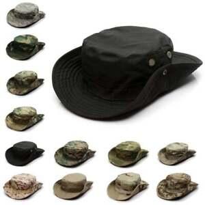 Camo Sun Hat Bucket Cargo Safari Bush Army Boonie Summer Fishing Hats Cap Mens