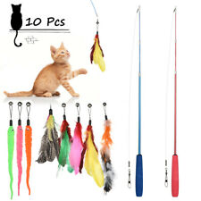New listing 10pcs Pet Cat Interactive Toys Lot Mice Balls Bell Play Toy Feathers Teaser Wand