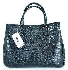 100% HORNBACK SKIN GENUINE CROCODILE LEATHER HANDBAG BAG TOTE BLACK RIVER NEW