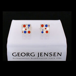 Georg Jensen Silver Cuff Links # 93C Blue, Red and White DOMINO