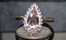 Solid 9K Gold Earth Mined Morganite Topaz Ring Size 8 TCW 1.73 ct 3.52 Gram