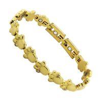 Tatzen Tierpfote Edelstahl Magnetix Magnet Armband Pfote Energetix 4You 2153gold