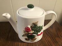 Vintage Ceramic GIBSON GREETING CO. OMC Japan Christmas Teapot Rabbit Snow Tree