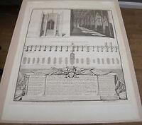 Original George Vertue Etching of St Thomas chapel on London Bridge, Circa 1748