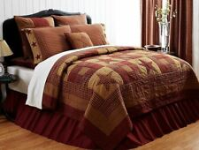 King Size Hand Stitched Quilt Country Patchwork Burgundy Red Ninepatch Star