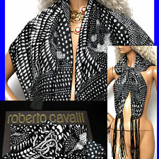 $595 ROBERTO CAVALLI Ladies BLACK / WHITE LOGO SILK SCARF w/ Tag & Box
