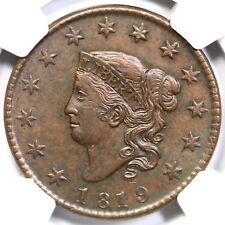 1819 N-10 R-4 NGC MS 61 BN Small Date Matron or Coronet Head Large Cent Coin 1c