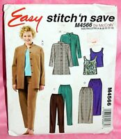 Uncut McCalls Misses Sz 8-14 Easy Shirt-Jacket Tank Top Skirt Pants Pattern 4566