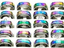 Double Layer Rainbow Spin Stainless Steel ring size 7.5