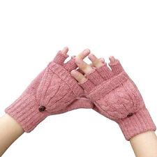 Women Winter Warm Cable Knit Thermal Converter Fingerless Gloves Flip Top Gloves