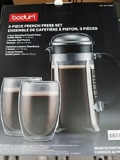 Bodum Chambord 8 Cup French Press Coffee Maker & Double Wall Pavina Glasses Set