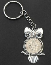 1957 61st birthday lucky Sixpence Owl Charm key ring + present box wedding gift