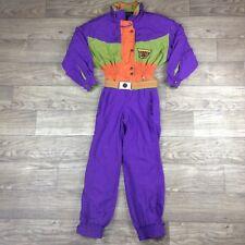 Bogner Women Vtg 80s Insulated Hooded Snowsuit Buckle Purple Orange Green 10R