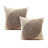 Set of 2 Rustic Farmhouse Leaves Decor Cotton Linen Throw Pillow Cases Sofa C...
