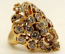 Vintage | 14 Karat Yellow Gold | 24 Count Diamond | Women's Ring  +/- 1.5 ct tw