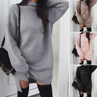 Women Long-Sleeve Turtleneck Tops Dress Winter Casual Loose Blouse Pullover