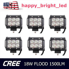 6X 4inch Off Road 18W Flood CREE LED Fog Lamp Work Light Bar SUV Jeep 4WD DRL