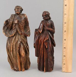 2 Antique 18thC Italian Carved Wood Christian Saints ...NO RESERVE