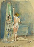 Pierre VASSEROT (1887-1959) - Nu humoristique daté 1924 - Dessin ancien