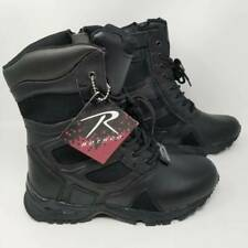 Rothco Mens Military Boots Black Leather Slip Oil Resistant Laces Zip 9 W New