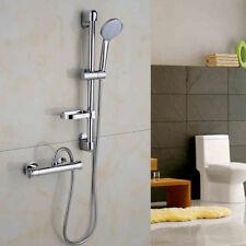 Bath Shower Mixer Thermostatic Valve Tap Dual Round Over Head Bathroom Kit US