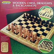 3 in 1 in legno Scacchi, Dama & BACKGAMMON-Spear 's Games ** GRANDE REGALO **