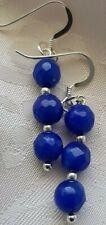 925 STERLING SILVER HOOKS DROP GEMSTONE BEADS EARRINGS BLUE SAPPHIRE 6 MM