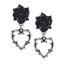 Nuevo Alchemy Gothic Corazón Amor herido pendientes E365 Black Rose Espina