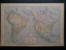 CARTE Amérique du Nord et du Sud Lemercier 1885 XIX