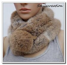 Echarpe Fourrure Lapin élevage Couleur Naturelle Real Rabbit Fur Scarf Shawl