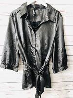 AntiliaFemme Blouse 3X Black Metallic Button Down Belt 3/4 Sleeves Plus New