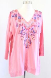 Soft Surroundings Mixteca Pink V Neck Embroidered Tunic Top Blouse Size XL