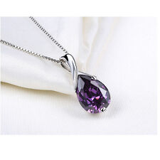 Retro Silver Plated Purple Crystal Pendant Necklace Exquisite Amethyst Jewelry