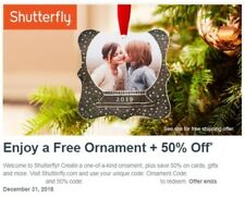 Personalized Ornament AND 50% Off Order at Shutterfly.com Codes EXP 12/31/2018