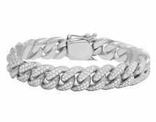 Men's Solid 10K White Gold Real Diamond Miami Cuban Link Bracelet 9 1/2 CT 14MM