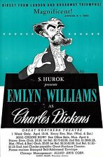 "Emlyn Williams as ""CHARLES DICKENS"" Al Hirschfeld Artwork 1953 Chicago Flyer"