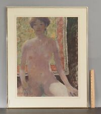 Large Original GRAEME ROSS French Pastel Portrait Drawing of Nude Woman Figure