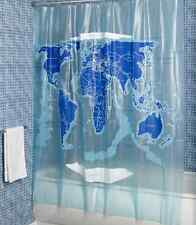 World Map Shower Curtain, Water Resist Bathroom Beautiful Blue Colors Waterproof