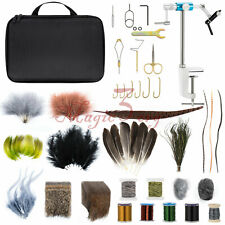 Fly Fishing Tying Kit Vise Vice Tool Material Supplies Feathers Thread Hooks
