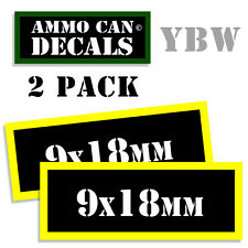 9 x 18mm Ammo Label Decals Box Stickers decals - 2 Pack BLYW